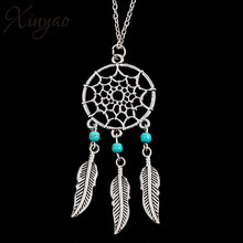 XINYAO 2017 New Antique Silver Color Bohemain Tassel Necklace Women Vintage Dream Catcher Leaf Angle Wings Statement Necklaces(China)