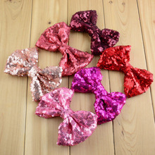 "20pcs/lot 24color 4.3"" Large Messy Sequin Bows Glitter Embroidered Hair Bow Garment Accessories For Girls HDJ23(China)"