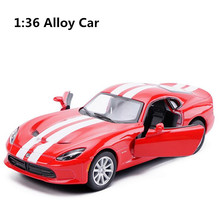 1:36 scale alloy pull back car model, high simulation Dodge Viper sports car, metal castings, toy vehicle, free shipping