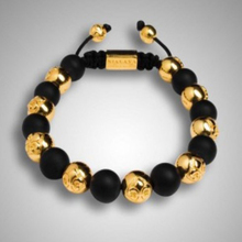 BALMORA Trendy Shamballa Jewelry Black & Gold Beads Handmade Adjustable Shamballa Bracelet for Men Customize Name/Logo NY-B-041