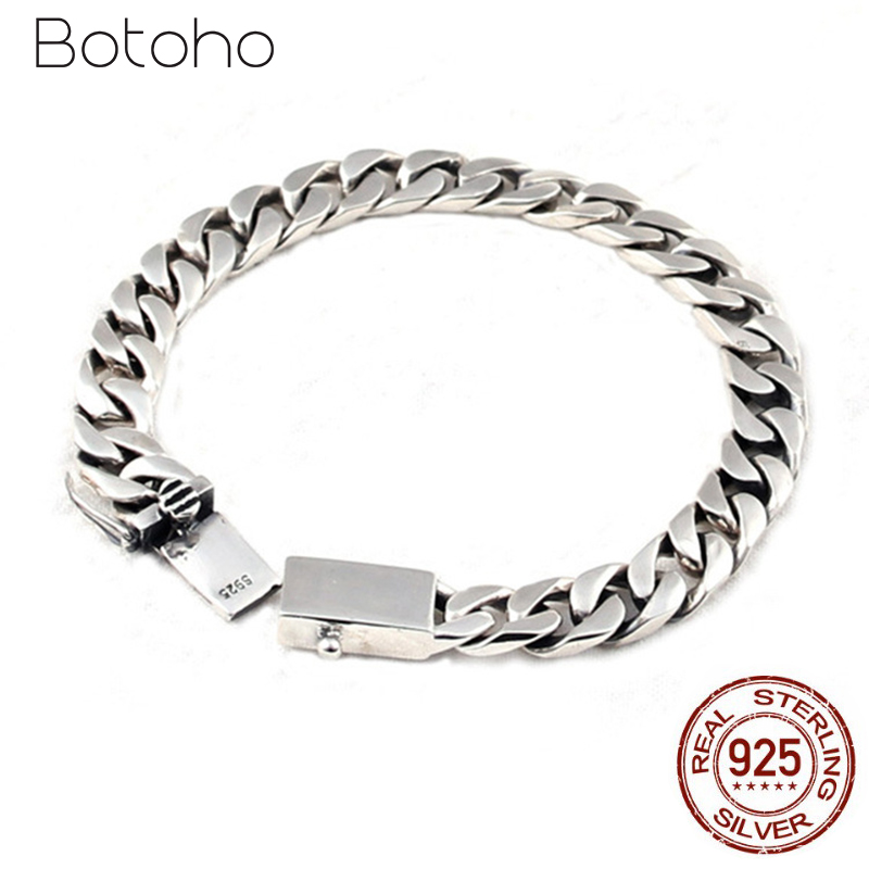 Real 925 Sterling Silver Simple Flat Chain Bracelet for Men Women Vintage Punk Tanks Chain Lovers' Bracelets Fashion Jewelry