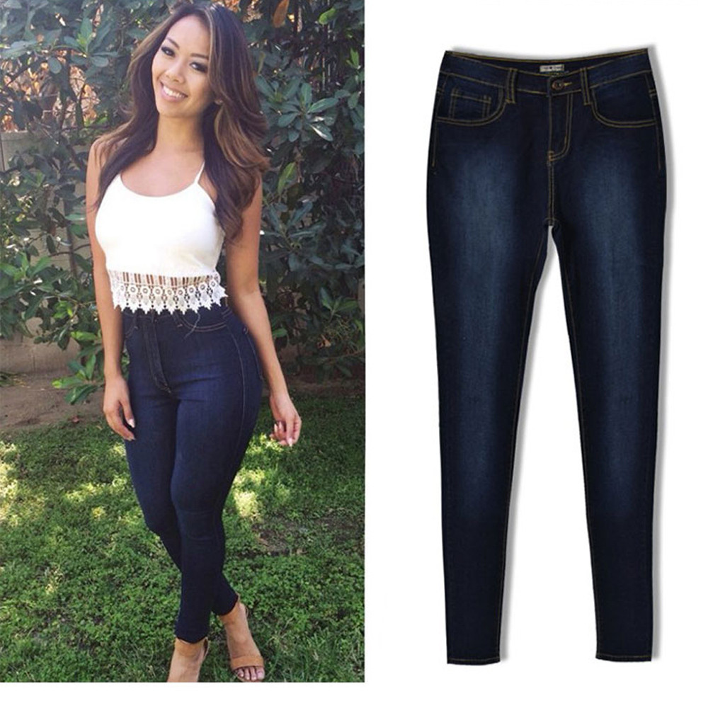 Fashion Jeans Womens Pencil Pants High Waist Jeans Sexy Slim Elastic Skinny Pants Trousers Fit Ladies Blue Jeans Plus Size XXLОдежда и ак�е��уары<br><br><br>Aliexpress