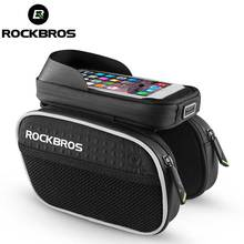 "ROCKBROS 2017 Bike Bag Rainproof Touch Screen MTB Cycling Bicycle Bag Reflective Frame Top Tube Phone Bag 5.7"" Bike Accessories(China)"