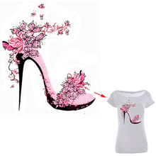 Flower High Heels Styling Patches 21.7*25cm Iron On Transfers For Clothing Women Fashion Stickers Decoration A-level Washable(China)