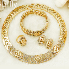 Liffly Christmas Jewelry Fashion Dubai Gold Crystal Necklace Earrings Rings Italy Bridal Jewelry Sets Earrings Jewelry for Women(China)