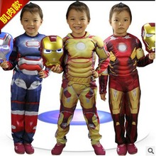 3 Colors Iron Man Cosplay The Avengers Costumes Halloween Costumes for Children Fantasia Disfraces game uniforms Free shipping