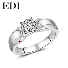 EDI 0.8ct Round Cut Diamond Rings Natural Ruby Gems 14k 585 White Gold Ring for Women Wedding Accessories Fine Jewelry Love Gift(China)