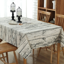 Wood Striped Table Cloth Cotton Linen Fabric Vintga Table clothes Wedding Party Decoration Tables Cover(China)