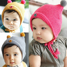 DreamShining Cute Baby Hats With Ears Boy Girl Toddler Crochet Hat Beanie Warm Newborn Knitted Caps Kids Christmas Gift Cap