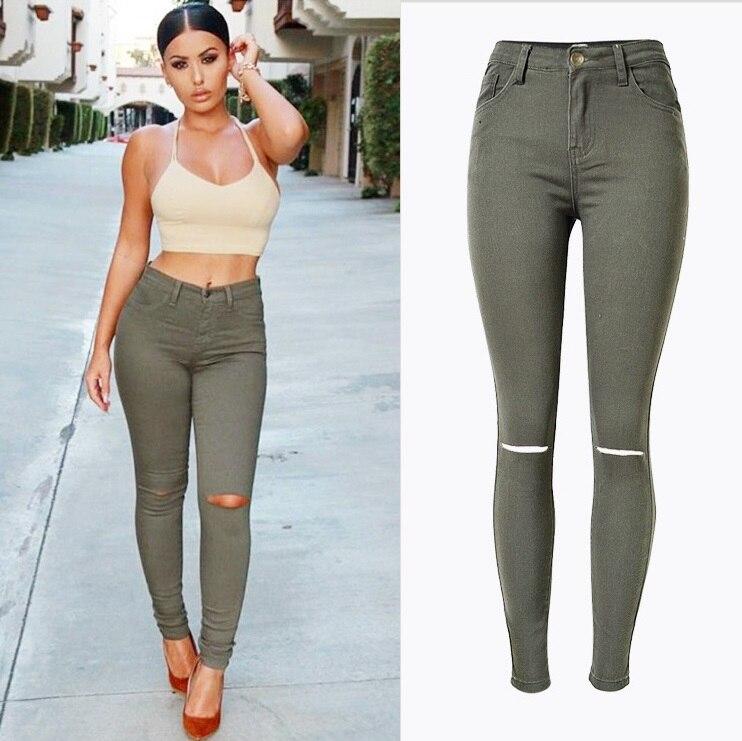 New Fashion Ladies Armee verte Slim Jeans dechires Skinny jean taille haute Women grande Jeans Femme Stretch Plus size pantalonОдежда и ак�е��уары<br><br><br>Aliexpress