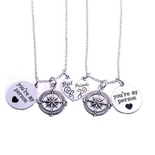 You're My Person Heart Best Friend Necklace Love Charm Compass Pendant Jewelry For Women Men Friendship Gifts BFF Necklaces