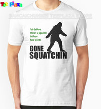 2017 Rushed Special Offer Fashion Cotton Knitted Teeplaza Shirt Tee O-neck Design Short Sleeve Gone Squatchin T Shirts For Men(China)