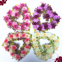 5 Colors Available Heart Shaped Rose Wreath Hanging Wreaths Flowers Garland with Silk Ribbon Wedding Party Home Wall Car Decor