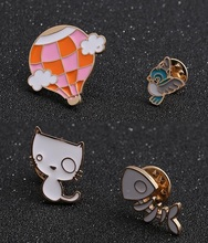 Timeless Wonder enamel bird cat fishbone hot air balloon Brooch Pin Set bijoux party gown bag hat diy Gift pop 4pcs/set 3023