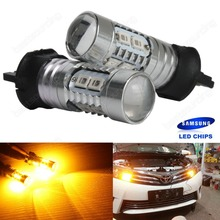 2x Amber PWY24W Bulb LED Indicator Daytime Running Light DRL VW  A3 8V  A4 8K2 facelift  A5 8T facelift  Q3   (CA265)