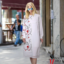 New Euro Women Spring Black White Floral Patchwork Dress O-Neck Full Sleeve Elegant Mesh Chiffon Ladies Sexy Party Dresses 2210