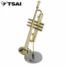 TSAI Creative Mini Trumpet A Good Gift For Children Kids Gold Trumpet Musical Instrument Model Small Horn Toys with Case Hot(China)