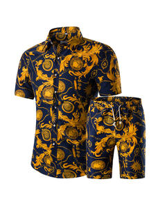 Shirts Suit-Sets Short Casual-Printed Male Plus-Size Summer New-Fashion Homme Men 5XL
