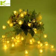 LED String Lighting nightlight Garland 2M 20Leds Rose Flower battery AA Power Valentine's Day Party Wedding Christmas Fairy