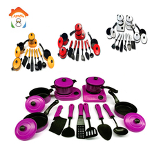 Game Set Kids Kitchen Utensils Toys Pretend Play Kitchen Pans Set Tableware Cooking Pots Educational Toys For children BM011(China)