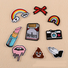 9pcs/lot Rainbow Lip Balm Camera Poo Patches Iron On Embroidered Patch For Clothing Stick On Badge Paste For Clothes Sew On Bag(China)