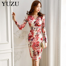 Buy Noble Red Floral Printing Dress Autumn New Korean Office Lady Dress Women Sexy V-neck Draped Knee-Length Package Hip Dress for $28.70 in AliExpress store