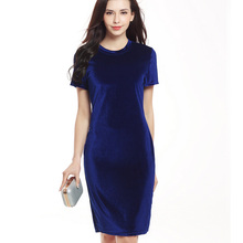 Hot Sale 2017 Fashion Summer Women Dress Swan Gold Velvet Round Neck Lady Short Sleeve Dress Pencil Solid Dress