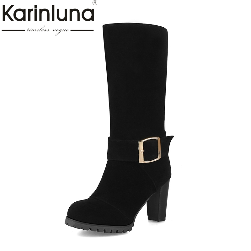 KarinLuna 2017 Large Size 32-43 flock buckle decoration brand shoes woman boots autumn winter high heels mid calf boots<br>