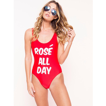 Rose' All Day Private Party Swimsuit One Piece Full Body Letter Print Swimwear Plus Size Sexy Monokini Bath suit Trikini Mayo
