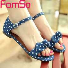 FAMSO Size34-44 2017 New Fashion Women Sandals buckle Print Canvas Shoes Flats Sandals Summer Female platforms Sandals FS382