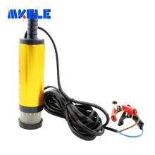Mini 12/24V Diameter 38MM Electric Water Oil Car Camping Submersible Diesel Transfer Oil Pump Aluminium Alloy Belt Filter Net