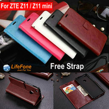 Magnetic Luxury PU Leather case for ZTE Z11 / Z11 min Flip Stand Wallet Card Slot Soft Back Cover for ZTE Z11 / Z11 min Bag LY01