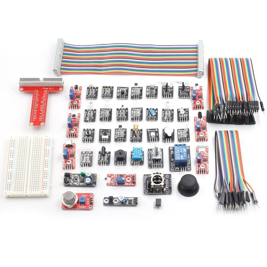 37 modules Sensor Kit for Raspberry Pi 3 2 and RPi 1 Model B+ 40-Pin GPIO Extension Board Raspberry Pi NOT included<br>