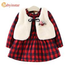 Babyinstar Girls Dress Plus Velvet Plaid Dress + Vest 2pcs Winter Thick Warm Casual Princess Kids Dresses for Girls Party Dress(China)