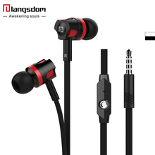 Original Langsdom Microphone headphone bass stereo earphone for iPhone Android MP3/4 Flat wired control music earphone(China)
