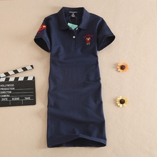 2017 Spring Summer One-piece Dress Female Cotton Dress Letter Slim Casual POLO Collar A-line Dress
