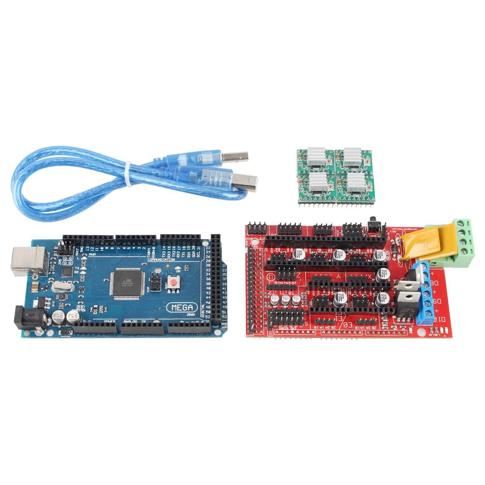 Mega 2560 R3 + 1pc RAMPS 1.4 Controller + 5pcs A4988 Stepper Driver Module RAMPS 1.4 KIT for 3D Printer kit MendelPrusa<br><br>Aliexpress