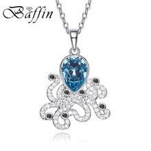 BAFFIN 2017 Blue Ocean Fish Pendant Necklaces Crystals From SWAROVSKI For Women Girls White Gold Color Animal Jewelry Gifts(China)
