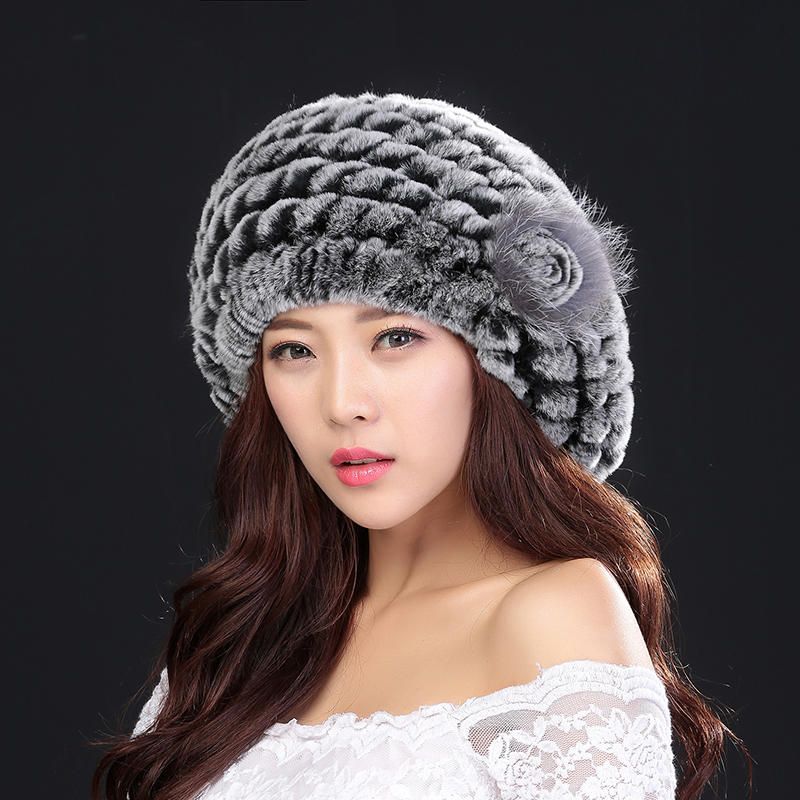 2017 Winter Hair Hat women natural knitted Rex Rabbit fur Lady Beret high quality fashion best gift thick warm hat 2223Îäåæäà è àêñåññóàðû<br><br>