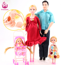UCanaan Toys Family 5 People Dolls Suits 1 Mom /1 Dad /2 Little Kelly Girl /1 Baby Son/1 Baby Carriage Real Pregnant Doll Gifts(China)