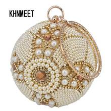 Design Gold ball Wristlets Bag Women Silver Beaded Pearl Mini Tote Handbag Chain Lady Wedding Bridal Evening Purse Clutch Bag(China)
