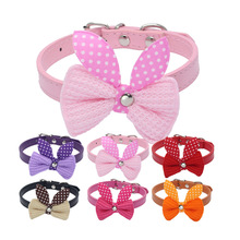 Small Pet Dogs Collars Cute Knit Bowknot Leads Cat Adjustable Leather Collar XS S M Puppy Choker Necklaces