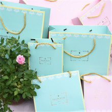 Zilue 5pcs/Lot Pink Tiffany Handbag Wedding Candy Supply Birthday Gift Bag Party Decoration Jewelry Package Shopping Bag(China)