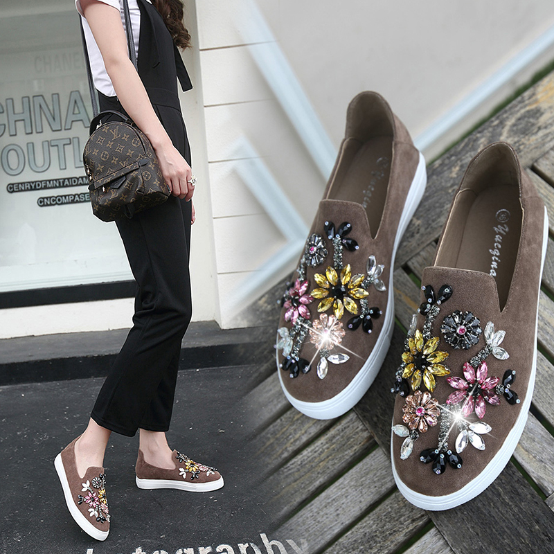 Espadrilles Women Spring Loafer 2017 Hot Flat Shoes Round toe Crystal Comfort Shoes Woman Slip On Womans Flat Shoes Black/Khaki<br><br>Aliexpress