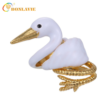 Fashion 3Pcs/Set Cute Lovely Animal Ring Set Swan Shape Rings Finger Rings for Women Party Enamel Ring Set(China)