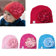 Hot Sell 1Pc Baby Cotton Beanies Infant Hat Big Peony Flower Toddler Cap Photography Props New