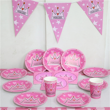 girl pink princess crown flag plate tablecloth ect 6people tableware set 43pcs cartoon party set happy birthday decoration
