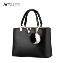 ACELURE Women Attractive Handbags V Letter Fur Messenger Bags Female PU Leather Shoulder Bags Female Tote Shopping Bags Sac a Ma(China)