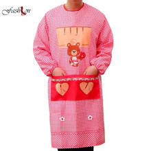Kitchen Waterproof Female Apron Long Sleeve Smock Overalls Anti Wear Adult Chef Pockets Decor Cartoon Print Pattern Chef Clothes