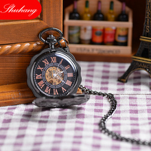 Classical Lead Black Style Men's Magnifying Glass Flower  Mechanical Pocket Watch With Chain XMAS Gift Cool Luxury Men Watch